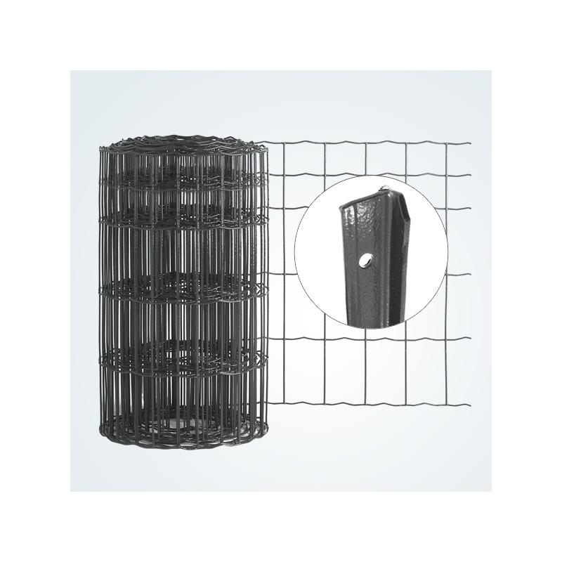 kit complet 25m de grillage mailles soud es 100x50mm gris anthracite. Black Bedroom Furniture Sets. Home Design Ideas