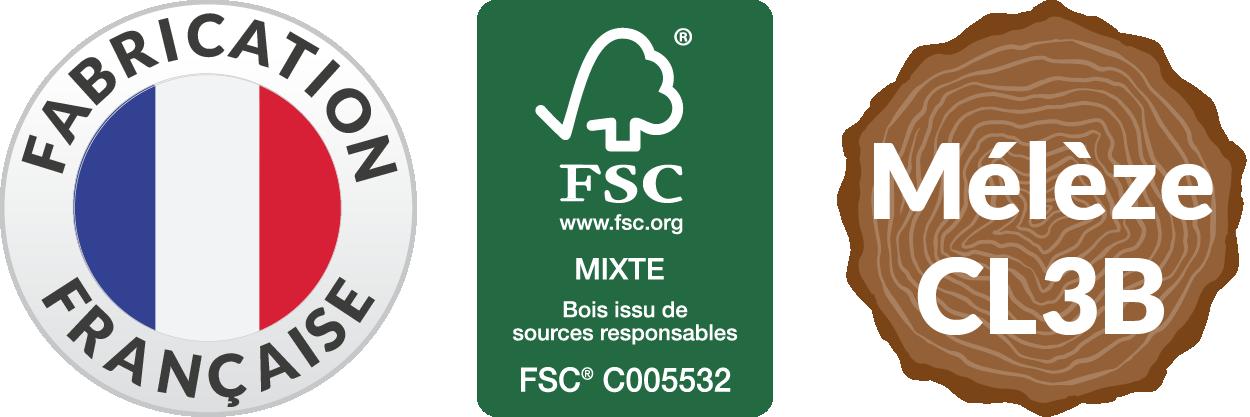 Fabrication Française - certifié FSC - Mélèze classe 3B